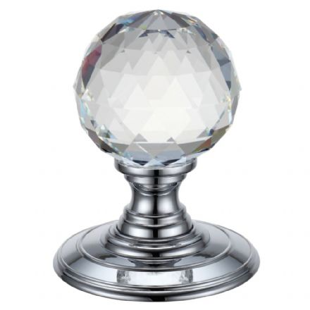 Fulton & Bray FBCR301CP Facetted Glass Ball Mortice Knob Polished Chrome